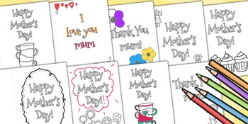 Mother's Day Card Templates- Colouring in