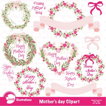 Mothers Day Clipart, Hearts clipart, Roses, Frames Clip Ar