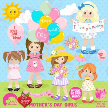 Mothers Day Clipart, Kids Clip art, Girls Clipart. AMB-1277