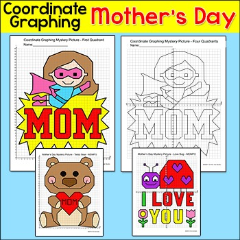 Mother's Day Math Coordinate Graphing - Superhero Mom, Ted