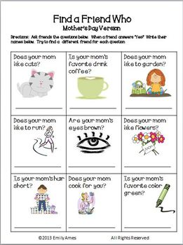 Mother's Day-Find a Friend Who Activity FREEBIE