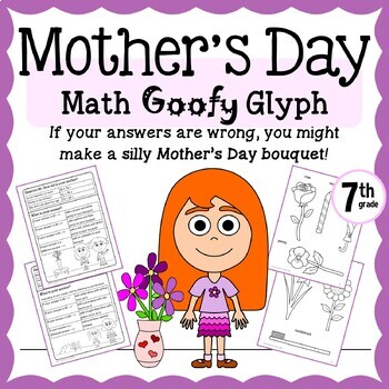 Mother's Day Math Goofy Glyph (7th Grade Common Core)