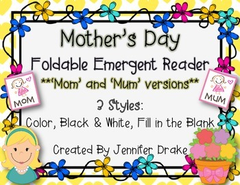 Mother's Day Foldable Emergent Reader for Mom & Mum!  3 Ve