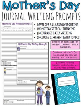 Mother's Day Journal Writing Prompts (activity leading up