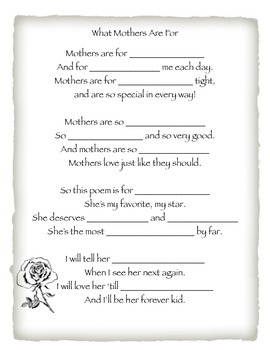 Mother's Day MadLib