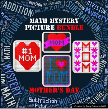 Mother's Day Math Mystery BUNDLE Addition Subtraction Mult