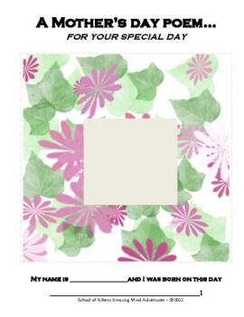 Mother's Day Poem Book Arts Craft Activity and Children's
