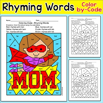 Mother's Day Rhyming Words Literacy Center Activity - CVC Words