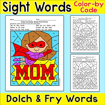 Mother's Day Color by Sight Words Activity