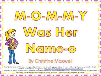 Mother's Day Song And Posters M-O-M-M-Y Was Her Name-O