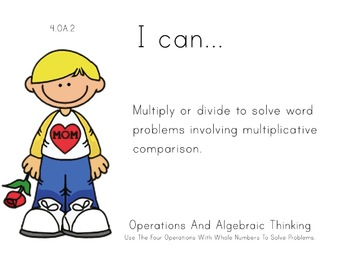 Mother's Day Theme 4th grade math Common Core Posters four