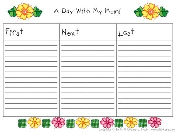 Mother's Day Writing Template First Next Last Sequencing G