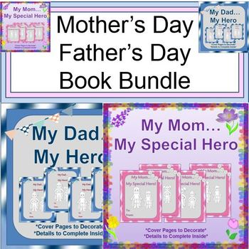 """Mother's Day and Father's Day Bundle:  Creative """"My Hero"""" Books"""