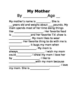 Mothers day fill in the blanks