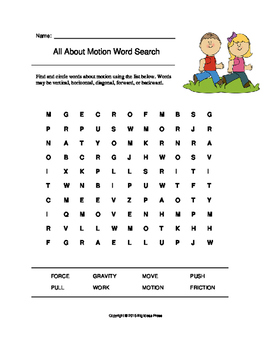 All About Motion Word Search (Grades 1-2)