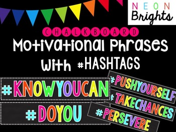 Motivational Phrases with Hashtags - Black & Bright Neon C