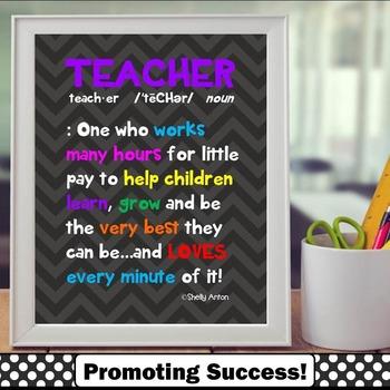 Teacher Appreciation Week Definition Quote Poster in Chevr