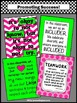 Set of 4 Pink & Green Classroom Rules & Teamwork Quote Pos
