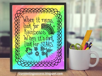 Rainbow and Stars Quote & Doodles Poster Handwritten Class