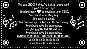 """Motivational Quote from the song """"Square Pegs"""" by Kelsea B"""