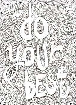 Motivational poster, coloring poster, excellence, do your