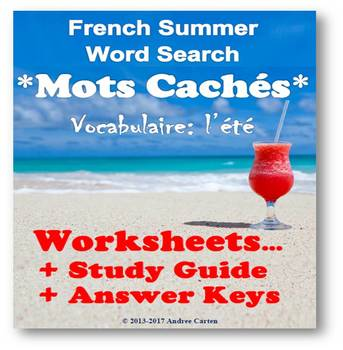 End of School Year - French Summer Word Search + Translati