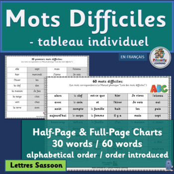 French ~ Mots Difficiles - tableau individuel   Sassoon Font