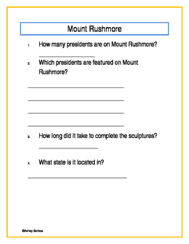 Mount Rushmore Activity Page
