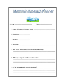 Mountain Research Planner