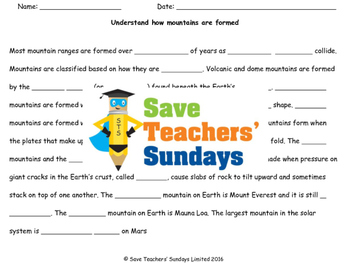 Mountain formation Lesson plan and Worksheet (to go with videos)