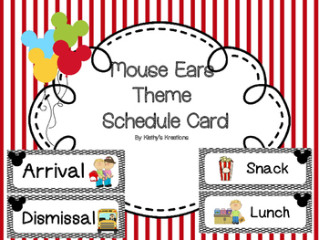 Mouse Ear Theme Schedule Cards