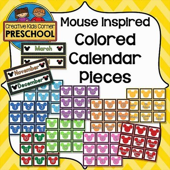 Mouse Inspired Colored Calendar Pieces