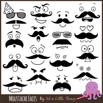 Moustache Faces Clip Art
