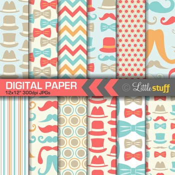 Moustache, Tophats, Bowties, Digital Paper, Turquoise, Ora