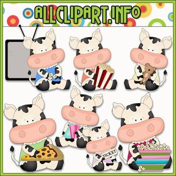 Movie Night Cows Clip Art - Cheryl Seslar Clip Art