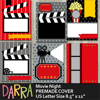 Movie Night Premade Cover Template - Planner Binder Page Cover