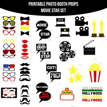 Movie Star Printable Photo Booth Prop Set
