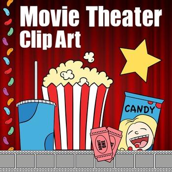 Movie Theater Clip Art, Theatre Clipart -- Popcorn, Soda,