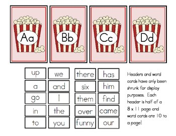 Movie Theme Word Wall Headers and Sight Words