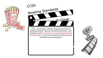 Movie Themed 7th Gr. CCSS Reading Standards Posters