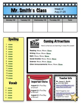 Movie Themed Newsletter (editable for weekly use)