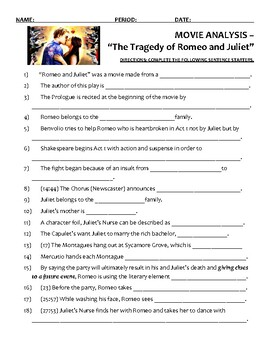 Movie Viewing Guide Romeo and Juliet 1996 Version