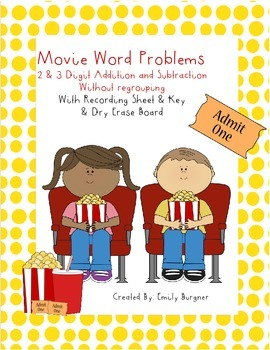Movie Word Problems - 2 & 3 Digit Add. & Sub. without Regrouping