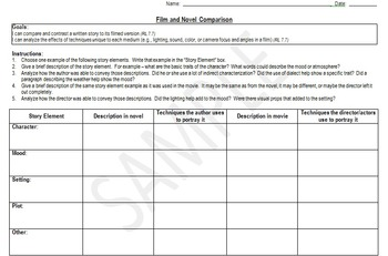 Movie and Book Comparison Graphic Organizer - 7th Grade