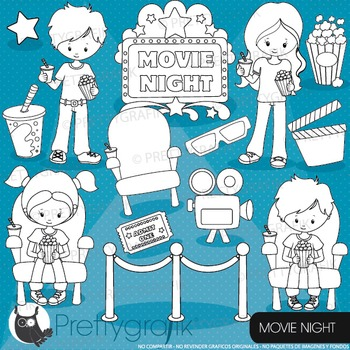 Movie night stamps commercial use, vector graphics, images