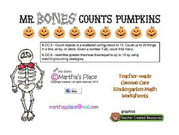 Mr Bones Counts Pumpkins