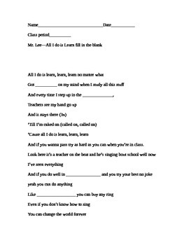 Mr. Lee: All I do is Learn lyrics (fill in the blank)