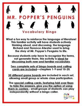 Mr. Popper's Penguins Vocabulary bingo