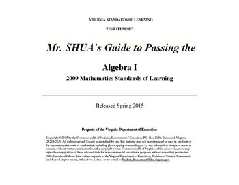 Mr Shua's Guide to Passing the Virginia 2015 Algebra 1 SOL