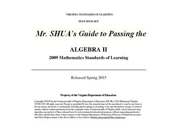 Mr. Shua's Guide to Passing the Virginia 2015 Algebra 2 SOL